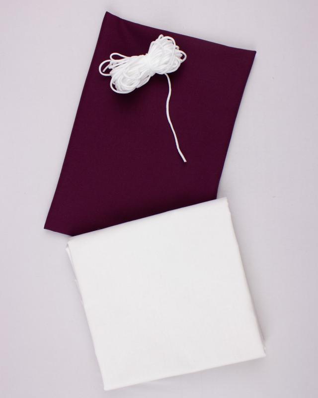 Kit for DIY 21 barrier masks - Cotton color Aubergine - Tissushop