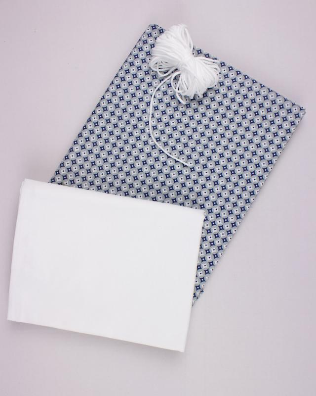 Kit for manufacturing 24 3 layers protection face masks - Printed cotton Polar Grey - Tissushop