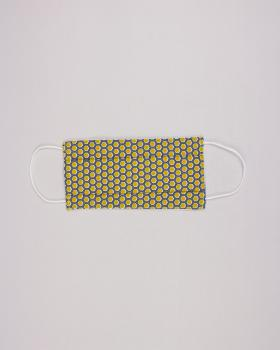 Kit for manufacturing 24 3 layers protection masks - printed cotton Alvéole Mustard - Tissushop