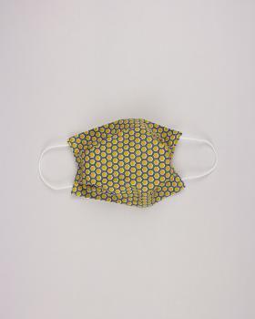 Kit pour fabrication de 24 masques de protection 3 couches - coton imprimé Alvéole Moutarde - Tissushop