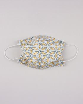 Kit for manufacturing 24 3 layers protection face masks - Tripoli printed cotton Mustard - Tissushop