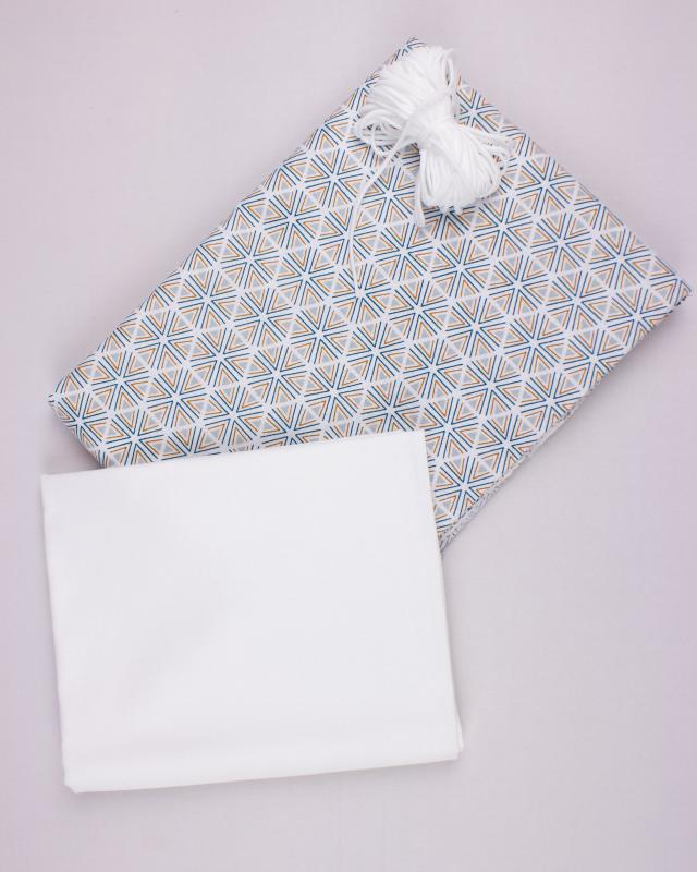Kit for manufacturing 24 3 layers protection face masks - Tripoli printed cotton Light Grey - Tissushop