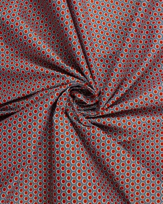 Popeline de coton Alvéole Rouge - Tissushop