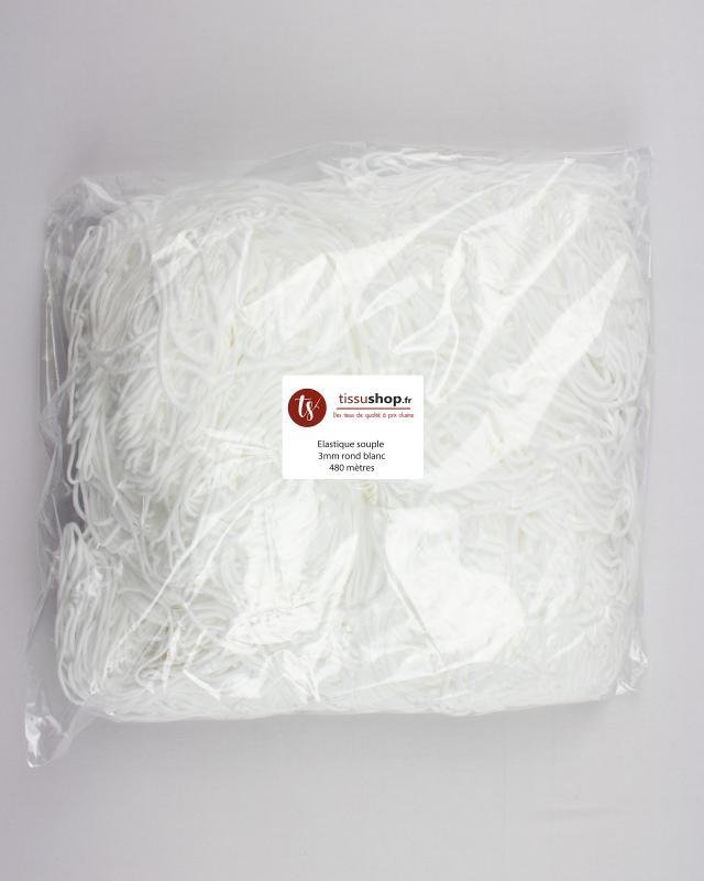 Elastique souple rond 3mm - spécial masque Blanc - Tissushop