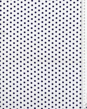 Popeline de coton pois medium fond blanc Bleu Marine - Tissushop