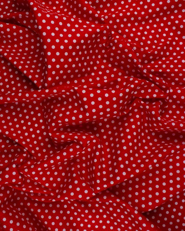Popeline de coton pois medium blanc sur fond Rouge - Tissushop