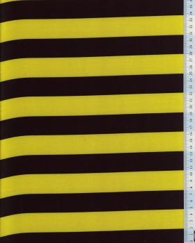 Satin Stripes black and Yellow - Tissushop