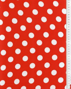 Red satin with dots White - Tissushop