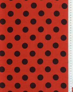 Red satin with dots Black - Tissushop