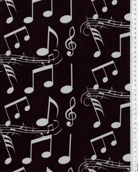 Satin Notes de musique Noir - Tissushop