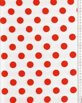 Red polka dot satin on background White - Tissushop