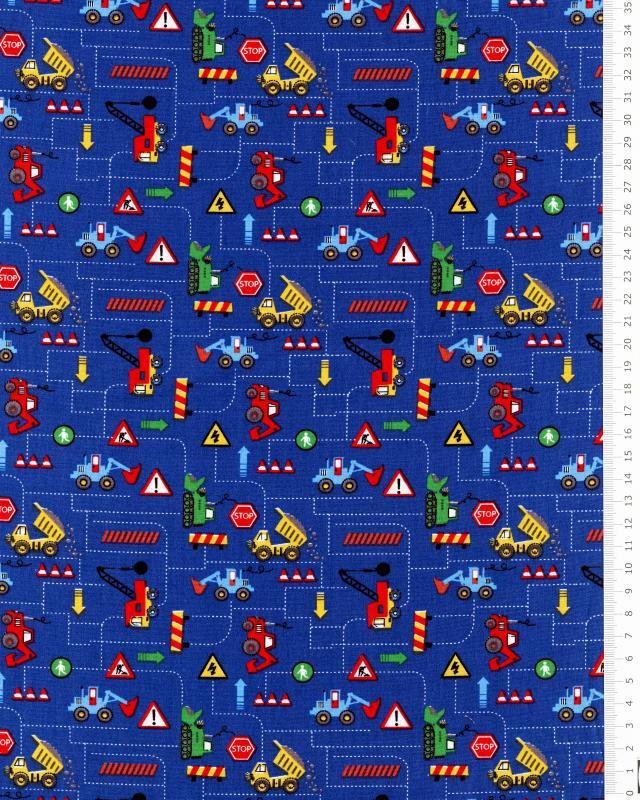 Popeline de coton - Engin de chantier Bleu - Tissushop