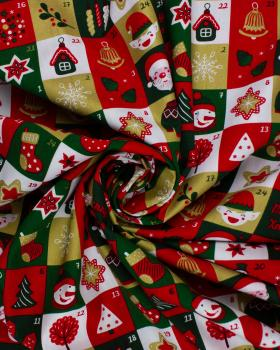 Cotton poplin printed - advent calendar Green - Tissushop