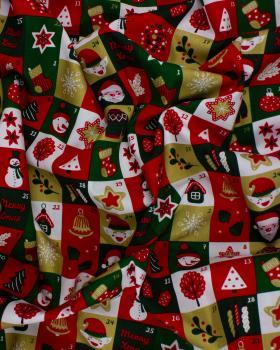 Popeline de coton - calendrier de l'avent Vert - Tissushop