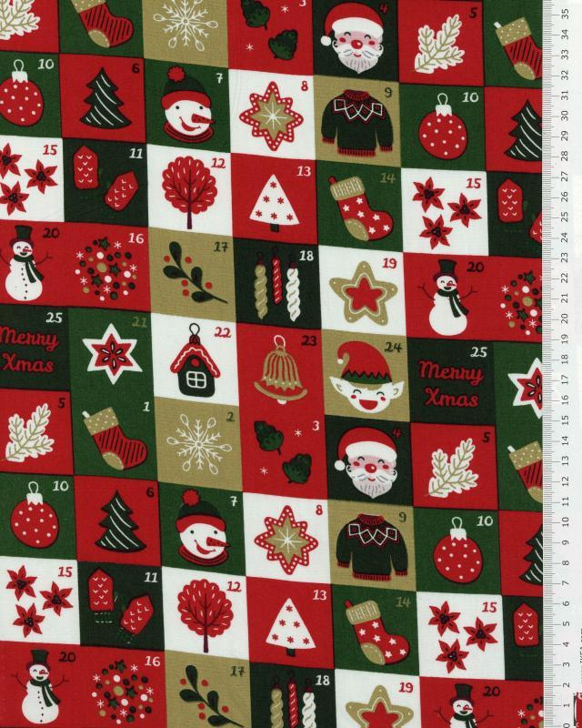 Cotton poplin printed - advent calendar Green - Tissushop