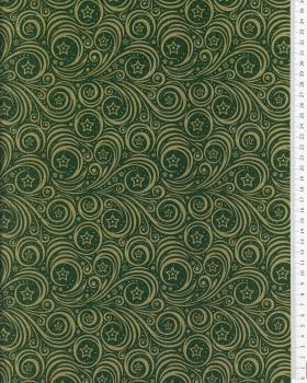 Cotton poplin with star print and Christmas swirl Green - Tissushop