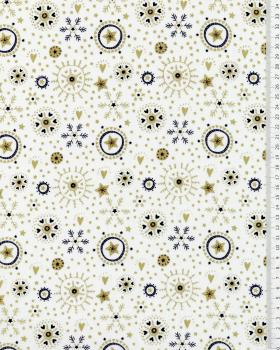 Cotton poplin with star print and Christmas snowflake Ivory - Tissushop