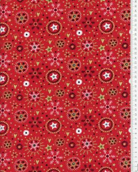 Cotton poplin with star print and Christmas snowflake Red - Tissushop