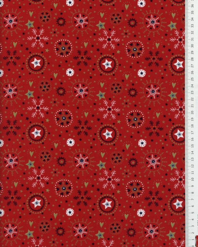 Popeline de coton - étoile et flocon de Noël Rouge - Tissushop
