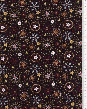 Cotton poplin with star print and Christmas snowflake Navy Blue - Tissushop