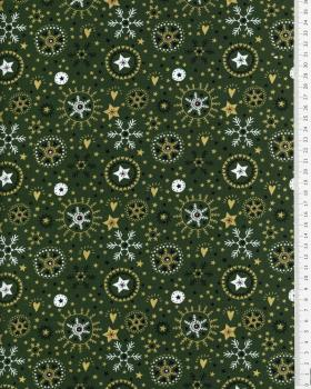 Cotton poplin with star print and Christmas snowflake Green - Tissushop