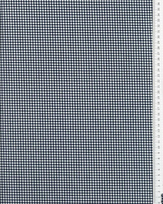 Poly / Coton Vichy Bleu Marine - Tissushop