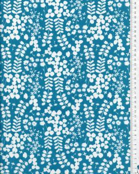 Imprimé végétal Bleu Turquoise - Tissushop