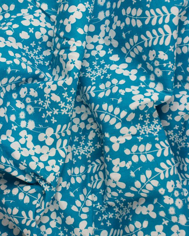 Plant print Turquoise Blue - Tissushop