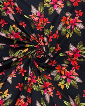 Island flowers viscose Black - Tissushop