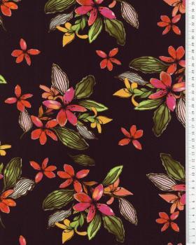 Viscose fleurs des îles Noir - Tissushop