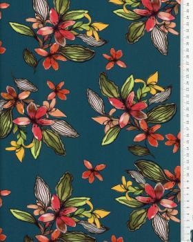 Viscose fleurs des îles Bleu Canard - Tissushop