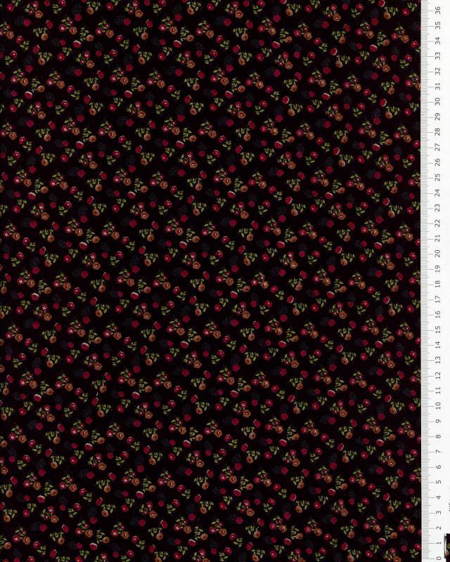Jersey petites fleurs sur fond Noir - Tissushop