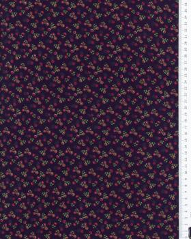 Jersey small flowers on background Navy Blue - Tissushop