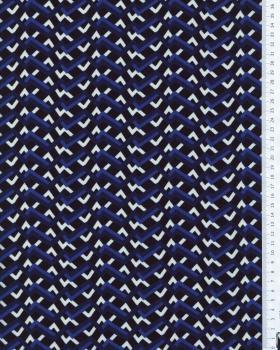 Crêpe lignes brisées Bleu - Tissushop