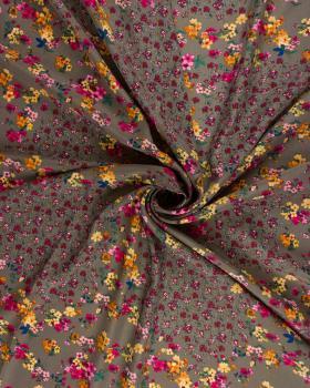 Satin imprimé petites fleurs Taupe - Tissushop