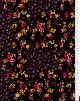 Satin imprimé petites fleurs Noir - Tissushop