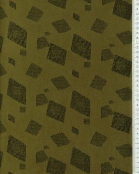 Suedine motif géométrique Kaki - Tissushop