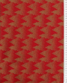 Printed cotton Christmas tree - background Red - Tissushop