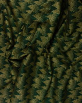 Printed cotton Christmas tree - background Dark Green - Tissushop