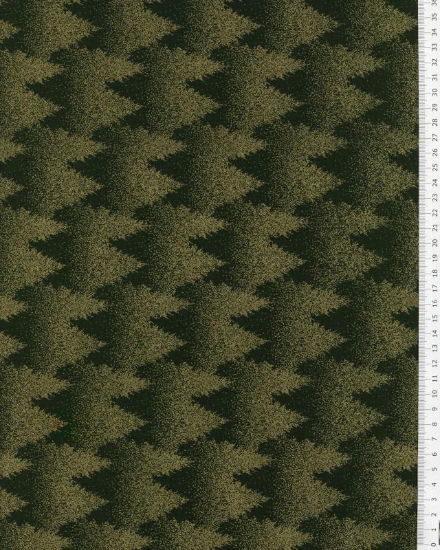 Coton imprimé Noel sapin doré sur fond Vert Sapin - Tissushop