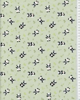 Popeline de coton panda Vert - Tissushop