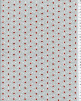 Stars and crystals cotton popelin Red - Tissushop