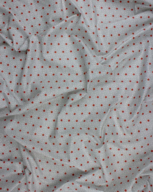 Popeline de coton étoiles et cristaux Rouge - Tissushop