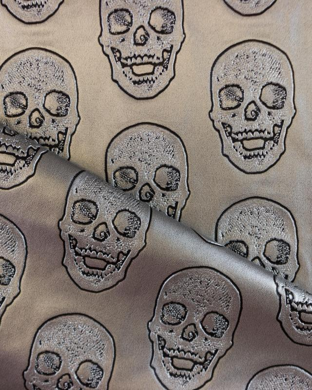 Imitation leather skull printed Silver - Tissushop