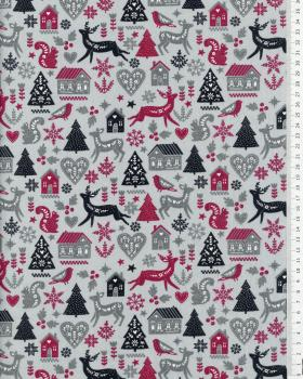 Cotton poplin Christmas in the mountains Bordeaux - Tissushop