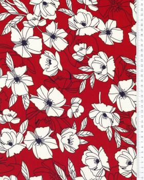 Peony printed crepe Bordeaux - Tissushop