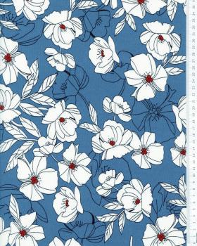 Crêpe imprimé Pivoine Bleu Jeans - Tissushop
