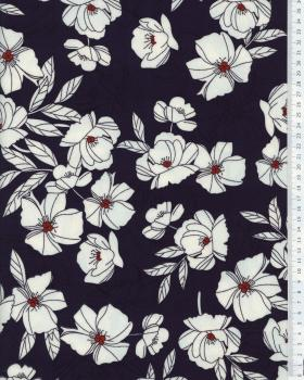 Peony printed crepe Navy Blue - Tissushop