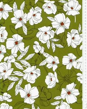 Peony printed crepe Olive Green - Tissushop