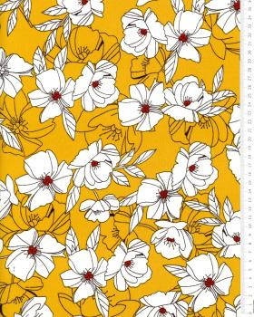 Peony printed crepe Mustard - Tissushop